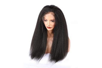(46cm , Full Lace Wig) - ALYSSA Hair 150% Density Kinky Straight Full Lace Wig Pre Plucked Brazilian Virgin Human Hair Wigs For Black Women 46cm Natural Colour