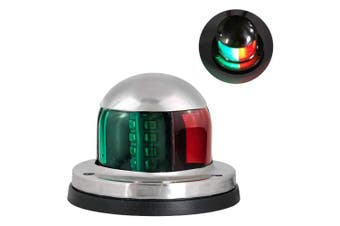 (Navigation Light 02) - Acelane LED Navigation Lights Bi-Colour Red and Green Sidelights Stainless Steel 12V Bow Side Port Starboard for Boating Fishing Yacht, Pontoons, Chandlery Boat, Skeeter