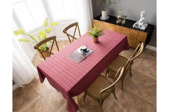 (140cm  x 180cm , Plaid 1- Red) - Aquazolax 1.8m Long Rectangle Tablecloth Plaid Pattern Table Covers for Campfire Picnic Barbecue, 140cm x 180cm , Red
