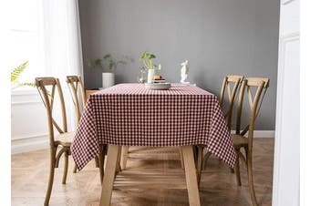 (140cm  x 140cm , Gingham S Plaids- Red) - Aquazolax Decorative Red Gingham Tablecloth Textured Fabric Protector for Dining Picnic Folding Table, 140cm x 140cm Red
