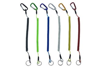 Amgate 6 PCS Fishing Coiled Lanyards Boat Fish Safety Ropes Wire Steel Inside - 150cm Max Stretch for Secure Pliers, Lip Grips, Tackle Tool