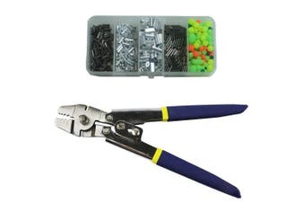 (Stainless Steel Crimping Pliers Set) - Shaddock Fishing Wire Leader Rope Hand Crimping Pliers Tools Set Copper Aluminium Oval Sleeves Stop Sleeves from 0.1mm to 2.2mm