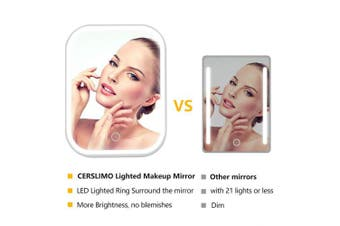 (B-White-Rechargeable) - CERSLIMO Lighted Makeup Mirror with 4 LED Tape-lights, Rechargeable Travel Vanity Mirror with Lights, Dimmable Table Countertop Cosmetic Mirror with Touch Screen Switch