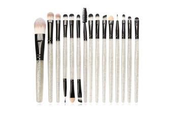(Silver) - Jam Lee Makeup Brushes Set 15pcs Shiny Crystal Handle Soft Nylon Bristles Kabuki Makeup Brush Cosmetic Brushes Eyeshadow Eyeliner Blush Brushes (Silver)