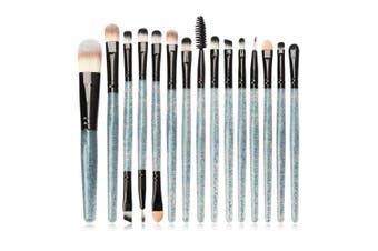 (Green) - Jam Lee Makeup Brushes Set 15pcs Shiny Crystal Handle Soft Nylon Bristles Kabuki Makeup Brush Cosmetic Brushes Eyeshadow Eyeliner Blush Brushes (Green)