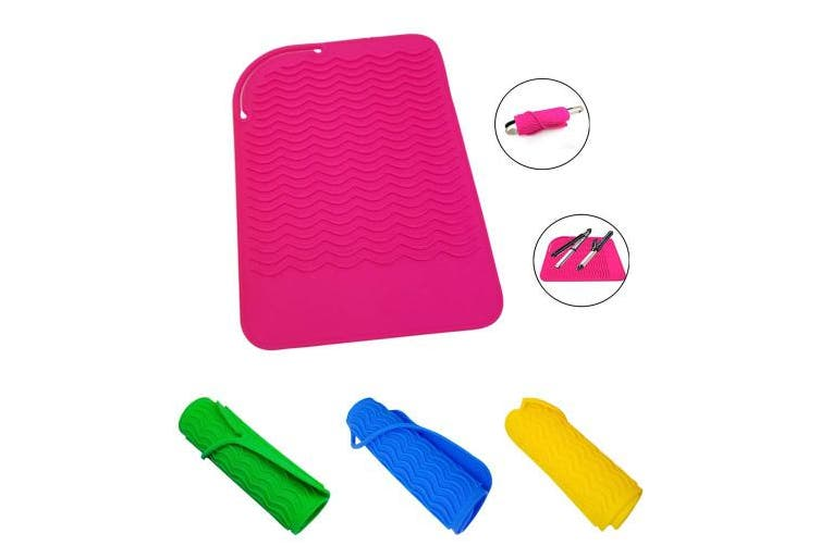 (Pink) - MILIAN Heat Resistant Travel Mat for Curling Irons, Flat Irons, Straighteners, Pink