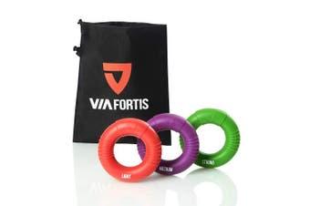 VIA FORTIS Premium Hand Exerciser - Finger Trainer Set of 3 Rings Plus Bag - Anti Stress and More Grip Strength