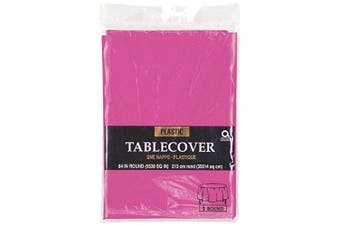 (Magenta) - Amscam 77018.61 Round Plastic party-tablecovers, 210cm , Magenta