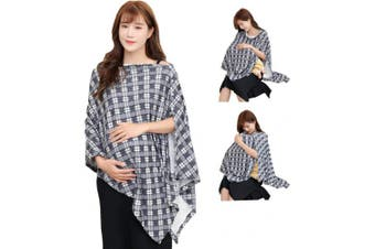 (Z Black White Checked) - Tribal Nursing Cover Poncho for Breastfeeding Nursing Shawl Cover Ups Maternity Pregnancy Poncho Adjustable Buttons Breathable Bamboo Perfect Gift Idea Black White Kente
