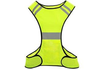 (Yellow-one size) - Biqing Hi Vis Reflective Vest High Visibility Vest Hi Viz Safety Jackets For Running Walking Cycling Jogging.