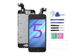 (iPhone 5 Black 4.0'') - for iPhone 5 Screen Replacement [Black],Drscreen Full LCD Display Touch Glass Screen Digitizer Replacement Kit with Home Button and Front Camera for A1428/A1429/A1442, Repair Tool+
