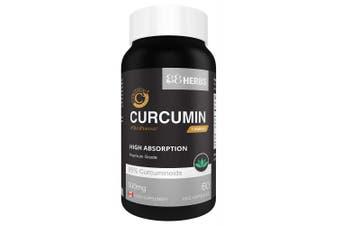 Curcumin - C3 Complex – Highest Absorption – 95% Curcuminoids + Bioperine – - No Magnesium Stearate – 500 mg – 60 caps