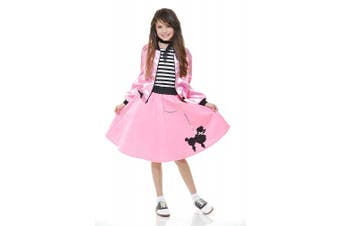 (Pink, X-large) - Charades Poodle Skirt With Elastic Waistband Girl's Costume, Pink, X-Large