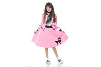 (Pink, Small) - Charades Poodle Skirt With Elastic Waistband Girl's Costume, Pink, Small
