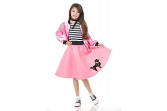 (Bubblegum Pink, Large) - Charades Poodle Skirt with Elastic Waistband Girl's Costume, Bubblegum Pink, Large