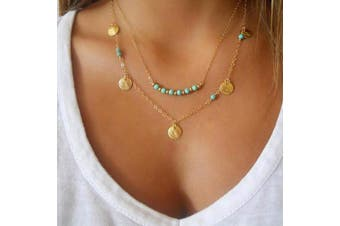 Evazen Bohemian Turquoise Necklace Chain Gold Sequin Layer Necklace Chain with Blue Beaded Fashion Jewellery for Women and Girls