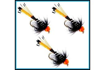 (33J-5 X 3 HOT HEAD Flies #12) - Trout Fly Fishing Flies (BLACK PENNEL Y.T. HOT HEAD) X 3 FLIES on a size 12 hook.