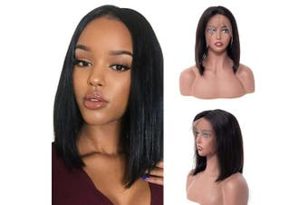 (36cm , Silky Straight Bob) - BLY Short Straight Bob Wigs Brazilian Virgin Human Hair Lace Front Wigs Human Hair (36cm ) 13x 4 Lace Part 150% Density Pre Plucked with Baby Hair
