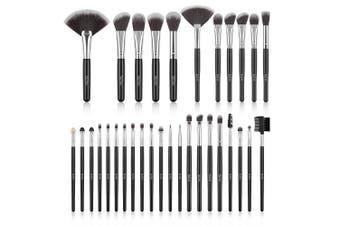 Makeup Brush Set, SOLVE 32 Pieces Professional Makeup Brushes Wooden Handle Cosmetics Brushes Foundation Concealer Powder Face Eye Make up Brushes Kit, Black