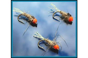 (Hot.H Hares ear Lummie Tail size 12) - Trout Fly Fishing Flies GLOW TAIL HARES EAR HOTHEADS X 3 FLIES For Trout Fly Fishing