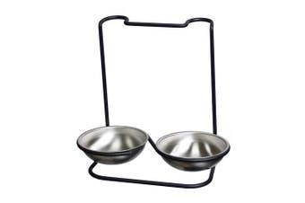 Prodyne M-955 Metalla Stainless Steel Double Spoon Rest Black