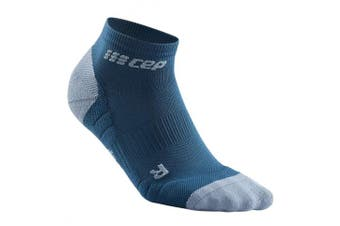 (IV, 3.0 - Blue/Grey) - CEP Women's Ankle Compression Running Low Cut Socks for Performance