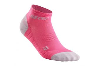 (III, 3.0 - Rose/Light Grey) - CEP Women's Ankle Compression Running Low Cut Socks for Performance