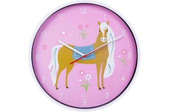 (Horses) - Wildkin Kids Wall Clock for Boys and Girls, Features Silent Quartz Movement, Glass and Durable Plastic Cover, Battery Not Included, Measures 12 x 4.1cm x 30cm , BPA-Free, Olive Kids (Horses)