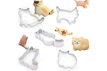 (5pcs Cats) - YZCX Cookie Cutters Stainless Steel Biscuit Cutter Mould Set for DIY Baking Cake Fondant Decoration (5PCS Cats)