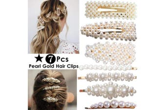 (Gold 7Pcs Pearl Hair Clips) - ANGELANGELA Oversized Pearl Hair Clips for Women Girls Mom, Mother day gift, Gold Silver Hairpin, Hair Styling Tools Accessories Barrettes Geometric Ponytail Holder (Gold 7Pcs Pearl Hair Clips)