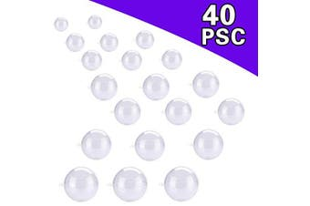 AIVS 20 Set Large Size DIY ABS Plastic Bath Bomb Mould 40 Pieces for Crafting Your Own Fizzles, Clear Plastic Ball Ornaments for Christmas and Party Decorations