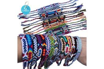 Carykon Pack of 12 Geometric Patterns Nepal Woven Friendship Bracelets (Neutral Style) …
