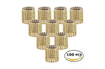 (Gold-100 Pcs) - Napkin Rings, Gold Bling Rhinestone Diamond Napkin Rings Buckles for Table Decorations, Wedding, Dinner,Party, DIY Decoration,Set of 100