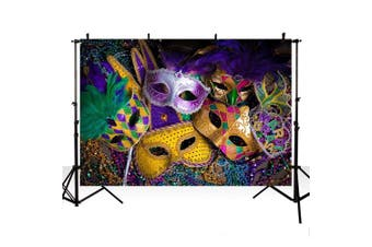 (2.4m x 1.8m, Mask) - MEHOFOTO 2.4m x 1.8m Mardi Gras Photo Studio Booth Background Banner Halloween Mask Masquerade Prom Dance Birthday Party Decoration Backdrops for Photography