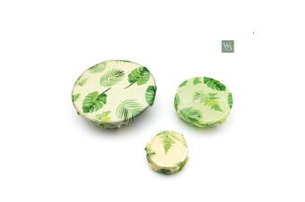 (Plant Patterned) - Organic Beeswax Reusable Food Wraps | Natural Alternative to Plastic wrap | Environmentally Friendly | by Wild and Stone | Botanical Patterned Set of 3