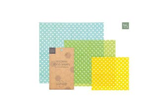 (Polka Dots) - Organic Beeswax Reusable Food Wraps | Natural Alternative to Plastic wrap | Environmentally Friendly | by Wild and Stone | Polka Dots Patterned Set of 3