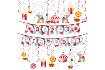 Circus Animals Party Supplies Carnival Hanging Swirl Ceiling Streamers Decorations Circus Theme Happy Birthday Banner Garland Circo Birthday Favours for Kids Baby Shower, 1st, Birthday Theme Decor