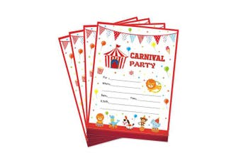 28 Carnival Circus Party Invitations, First Baby Shower Invites, Boy or Girl 1st Birthday or Gender Reveal Theme, Circus Animals Children Toddler Themed Supplies, Printed or Fill in The Blank Cards