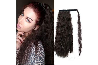 (Medium, 2/33#) - Alimice Long Curly Ponytail Extensions Synthetic Wavy Curly Wrap Around Clip in Ponytail Hair Extensions Natural Hair Ponytails for Girl Lady Magic Paste Ponytail(50cm , 2/33#)