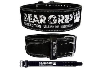 (Black, XL) - BEAR GRIP Power Belt - Elite Edition Premium Double Pong Weight Lifting Belt