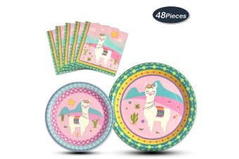 (Llama) - WERNNSAI Llama Party Supplies - 48PCS Disposable Alpaca Themed Tableware Set for Boys Kids Birthday Dinner Dessert Plates and Napkins Serves 16 Guests