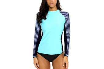 (Large, Aqua-stripe-navy) - CharmLeaks Women's Long Sleeve Rashguard UPF 50 Sun Protection Swimsuit Top Striped Swim Shirts