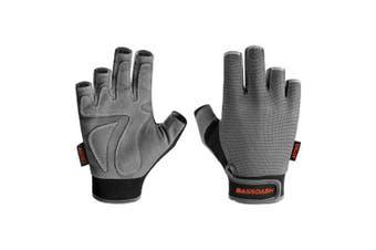 (X-Large, Grey) - Bassdash Astro Heavy-Duty Sure Grip Fishing Cycling Gloves Men's Women's Fingerless Gloves for Game Fishing Kayaking Paddling Sailing MTB