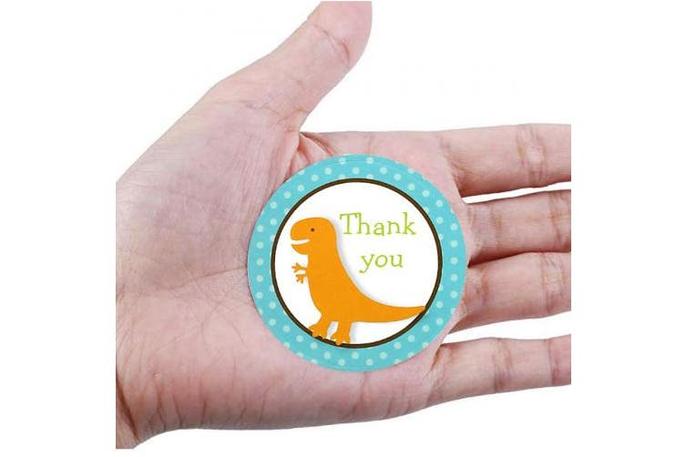 FINGOOO 40 pieces Dinosaur Thank You for Coming to My Party Stickers Round Sticker for Party Bag Gift Bag Cup Cake