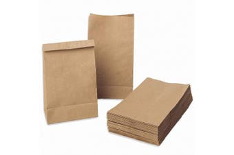 (Kraft Food Paper Bags) - Kraft Food Paper Bags 100pcs Brown Flat Bottom Lunch Bags for Bread, Treat Favours Small Grocery Kraft Paper Bag, Disposable Takeaway Paper Carrier Bags Takeout Bag for Shops Outlets, 17.5 x 9 x 5.5cm