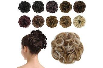 BARSDAR Messy Hair Scrunchies Hair Bun Extensions Hairpiece for Women Updo ponytail Extensions Scrunchie Hair Piece Hair Accessories - A19 Strawberry Blonde & Platinum Blonde