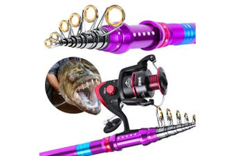 (VH350 Reel+2.1M/6.9FT Rod, Fishing Rod Reel Combo) - C0mdaba Fishing Rod and Reel Combos Full Kit Telescopic Fishing Pole with Spinning Reels Fishing Carrier Bag for Travel Saltwater Freshwater Fishing Gear Set
