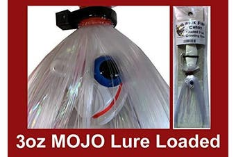 (White) - Blue Water Candy - Rock Fish Candy 90ml Mojo Lure Loaded with 15cm Swimbait Shad Body - Grinning Gus