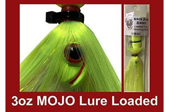 (Chartreuse) - Blue Water Candy - Rock Fish Candy 90ml Mojo Lure Loaded with 15cm Swimbait Shad Body - Grinning Gus
