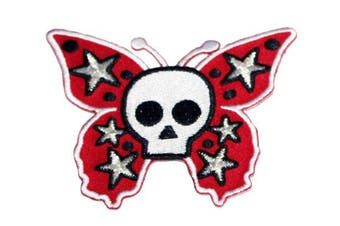 Application Skull Butterfly with Stars Patch, Red